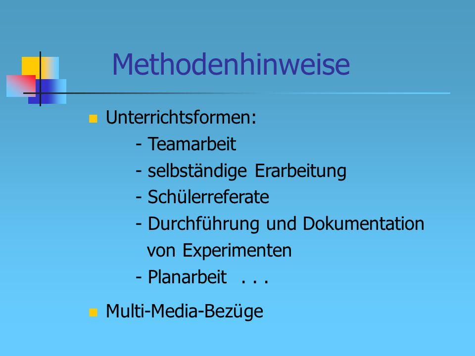 Methodenhinweise Unterrichtsformen: - Teamarbeit - selbständige Erarbeitung - Schülerreferate - Durchführung und Dokumentation von Experimenten - Planarbeit...