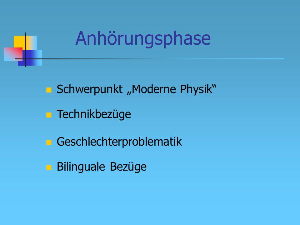 """Anhörungsphase Technikbezüge Geschlechterproblematik Bilinguale Bezüge Schwerpunkt """"Moderne Physik"""