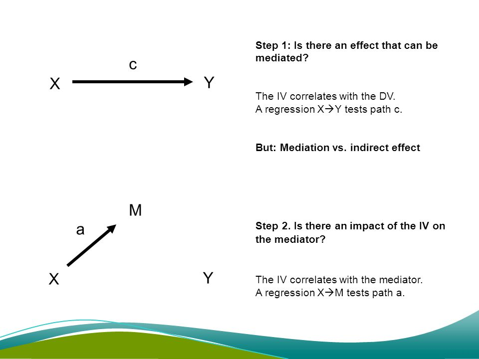 Y X M a X Y c Step 1: Is there an effect that can be mediated.