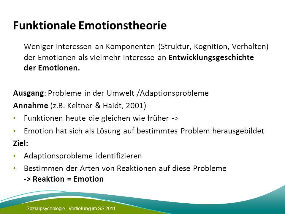 Sozialpsychologie - Vertiefung im SS 2011 Funktionale Emotionstheorie Weniger Interessen an Komponenten (Struktur, Kognition, Verhalten) der Emotionen als vielmehr Interesse an Entwicklungsgeschichte der Emotionen.