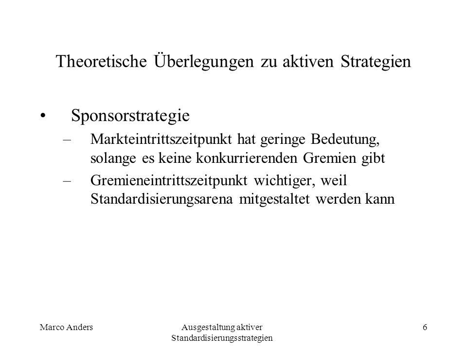Marco AndersAusgestaltung aktiver Standardisierungsstrategien 6 Theoretische Überlegungen zu aktiven Strategien Sponsorstrategie –Markteintrittszeitpunkt hat geringe Bedeutung, solange es keine konkurrierenden Gremien gibt –Gremieneintrittszeitpunkt wichtiger, weil Standardisierungsarena mitgestaltet werden kann
