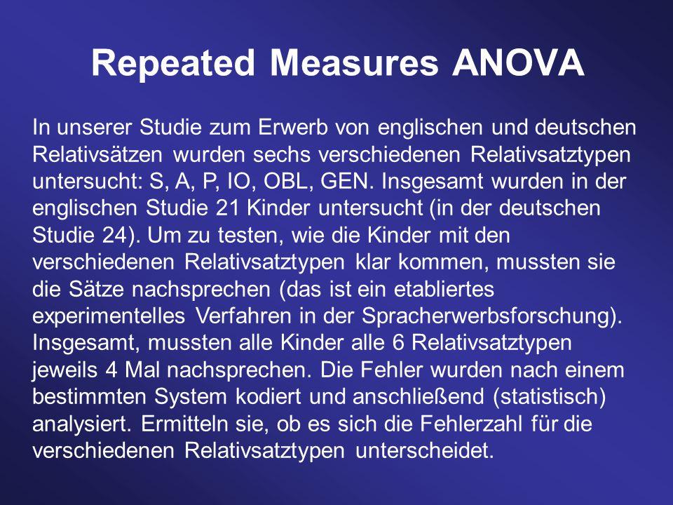 In unserer Studie zum Erwerb von englischen und deutschen Relativsätzen wurden sechs verschiedenen Relativsatztypen untersucht: S, A, P, IO, OBL, GEN.