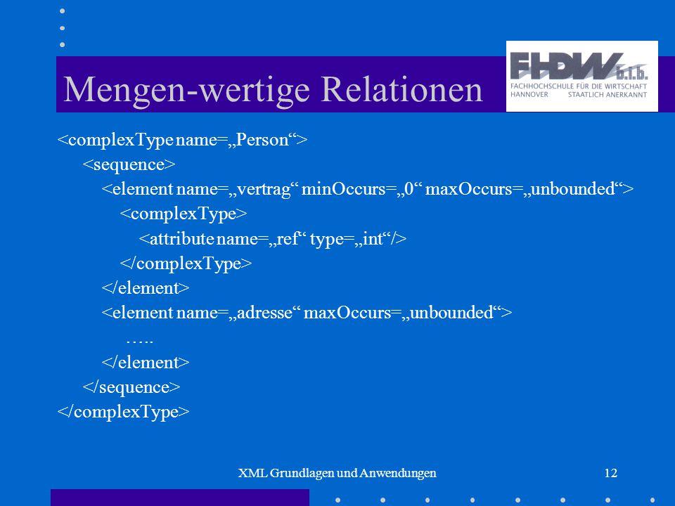 XML Grundlagen und Anwendungen12 Mengen-wertige Relationen …..