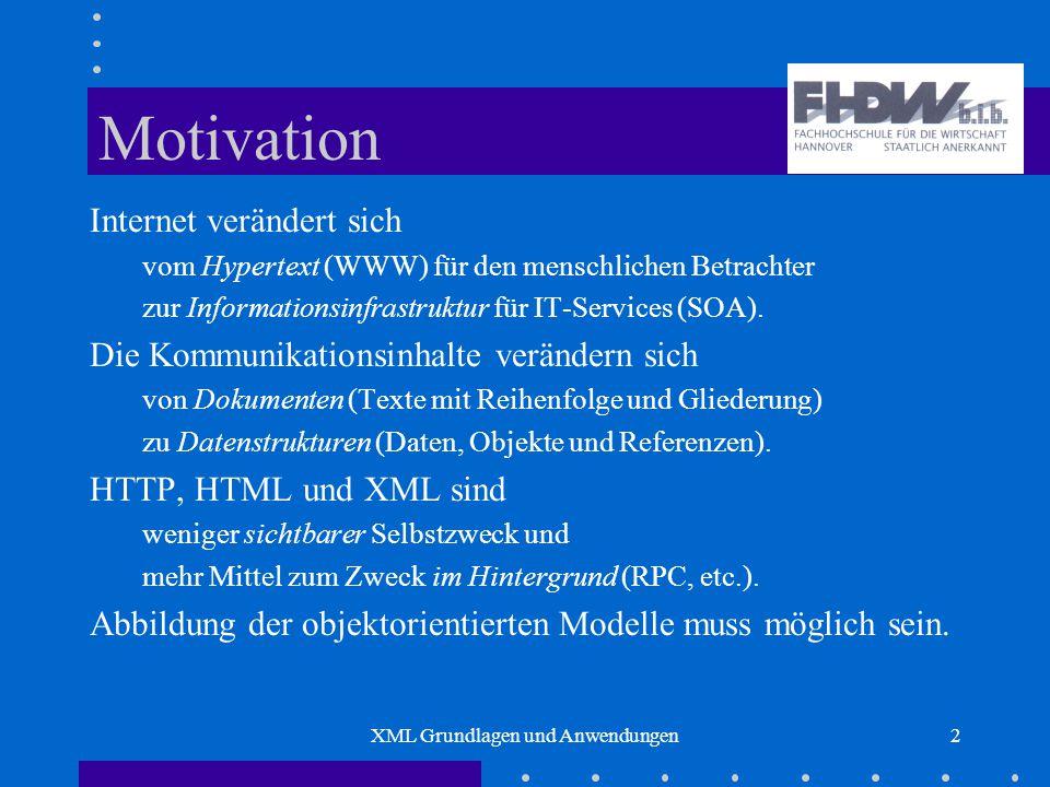 XML Grundlagen und Anwendungen2 Motivation Internet verändert sich vom Hypertext (WWW) für den menschlichen Betrachter zur Informationsinfrastruktur für IT-Services (SOA).