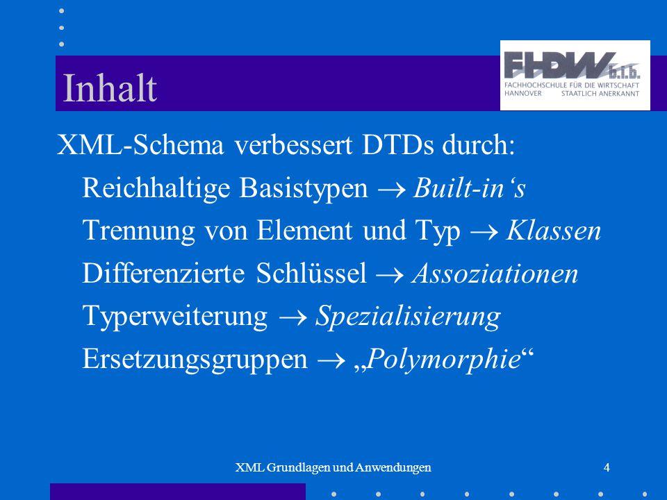"""XML Grundlagen und Anwendungen4 Inhalt XML-Schema verbessert DTDs durch: Reichhaltige Basistypen  Built-in's Trennung von Element und Typ  Klassen Differenzierte Schlüssel  Assoziationen Typerweiterung  Spezialisierung Ersetzungsgruppen  """"Polymorphie"""