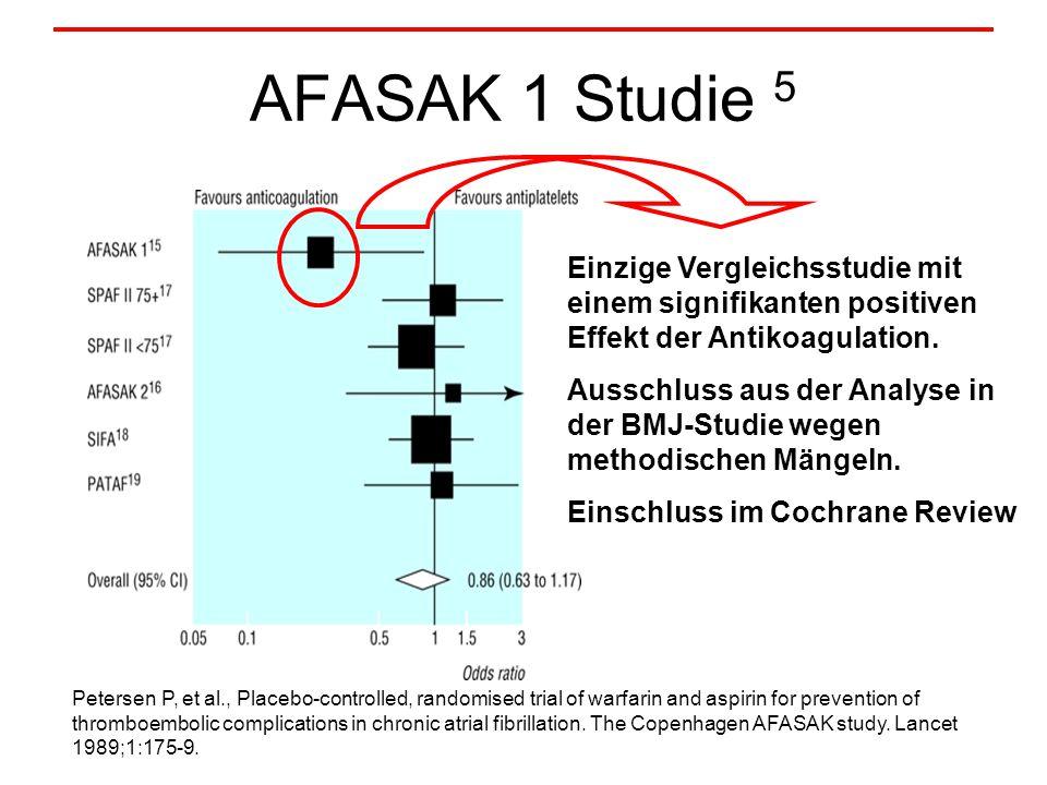 AFASAK 1 Studie 5 Einzige Vergleichsstudie mit einem signifikanten positiven Effekt der Antikoagulation.