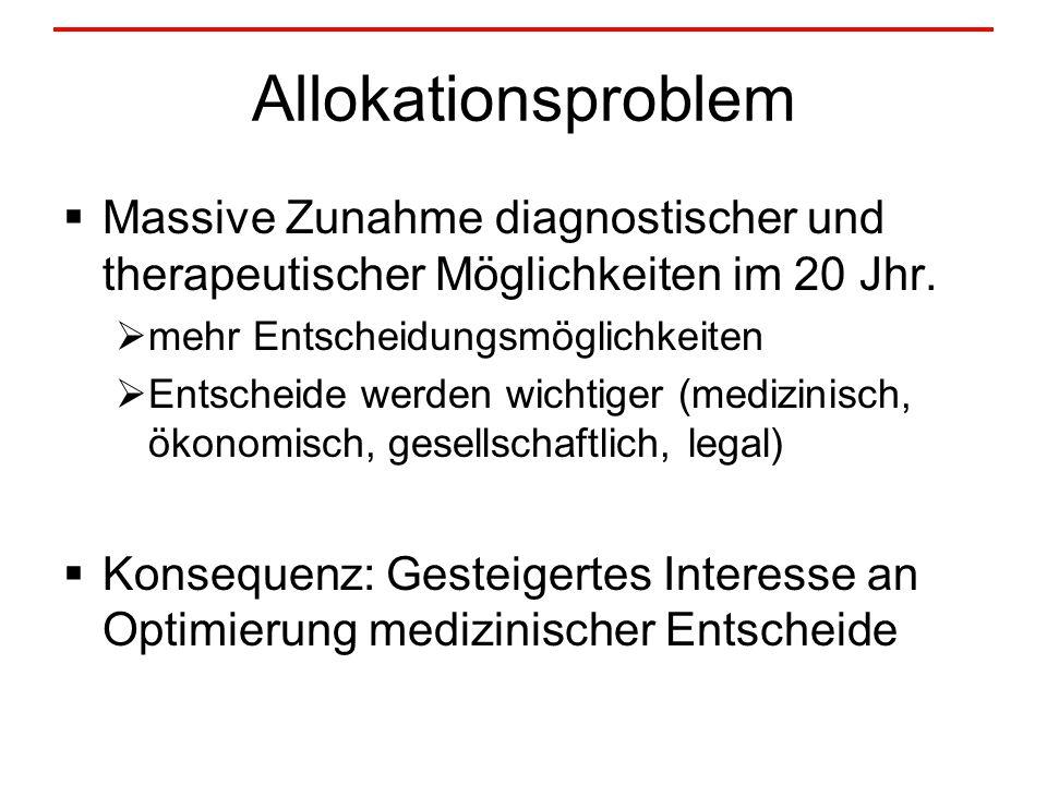 Allokationsproblem  Massive Zunahme diagnostischer und therapeutischer Möglichkeiten im 20 Jhr.