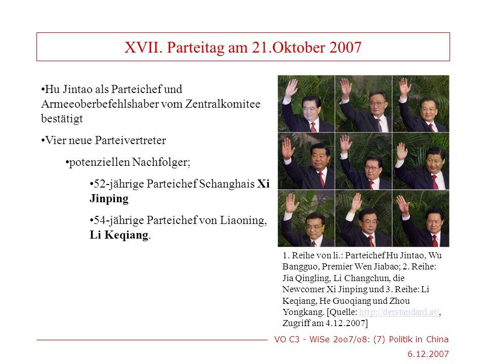 VO C3 - WiSe 2oo7/o8: (7) Politik in China 6.12.2007 Hu Jintao als Parteichef und Armeeoberbefehlshaber vom Zentralkomitee bestätigt Vier neue Parteivertreter potenziellen Nachfolger; 52-jährige Parteichef Schanghais Xi Jinping 54-jährige Parteichef von Liaoning, Li Keqiang.