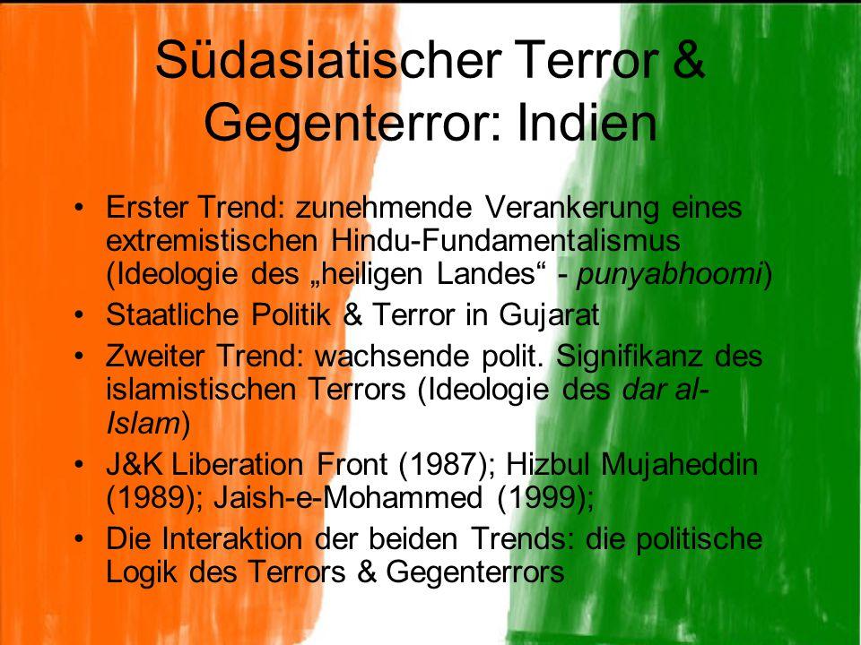 """Südasiatischer Terror & Gegenterror: Indien Erster Trend: zunehmende Verankerung eines extremistischen Hindu-Fundamentalismus (Ideologie des """"heiligen"""