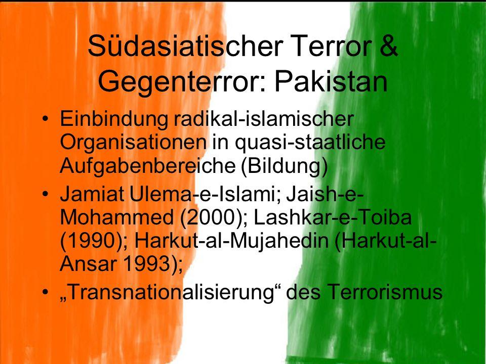 Südasiatischer Terror & Gegenterror: Pakistan Einbindung radikal-islamischer Organisationen in quasi-staatliche Aufgabenbereiche (Bildung) Jamiat Ulem