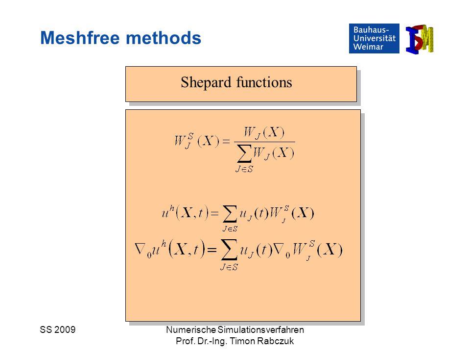 SS 2009Numerische Simulationsverfahren Prof. Dr.-Ing. Timon Rabczuk Shepard functions Meshfree methods