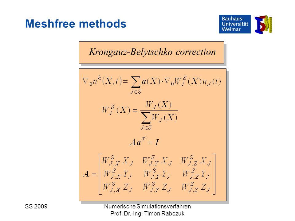 SS 2009Numerische Simulationsverfahren Prof. Dr.-Ing. Timon Rabczuk Krongauz-Belytschko correction Meshfree methods