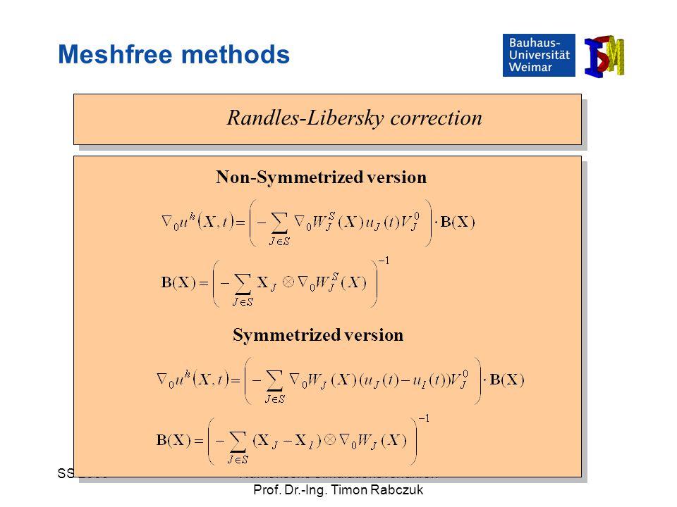 SS 2009Numerische Simulationsverfahren Prof. Dr.-Ing. Timon Rabczuk Randles-Libersky correction Symmetrized version Non-Symmetrized version Meshfree m