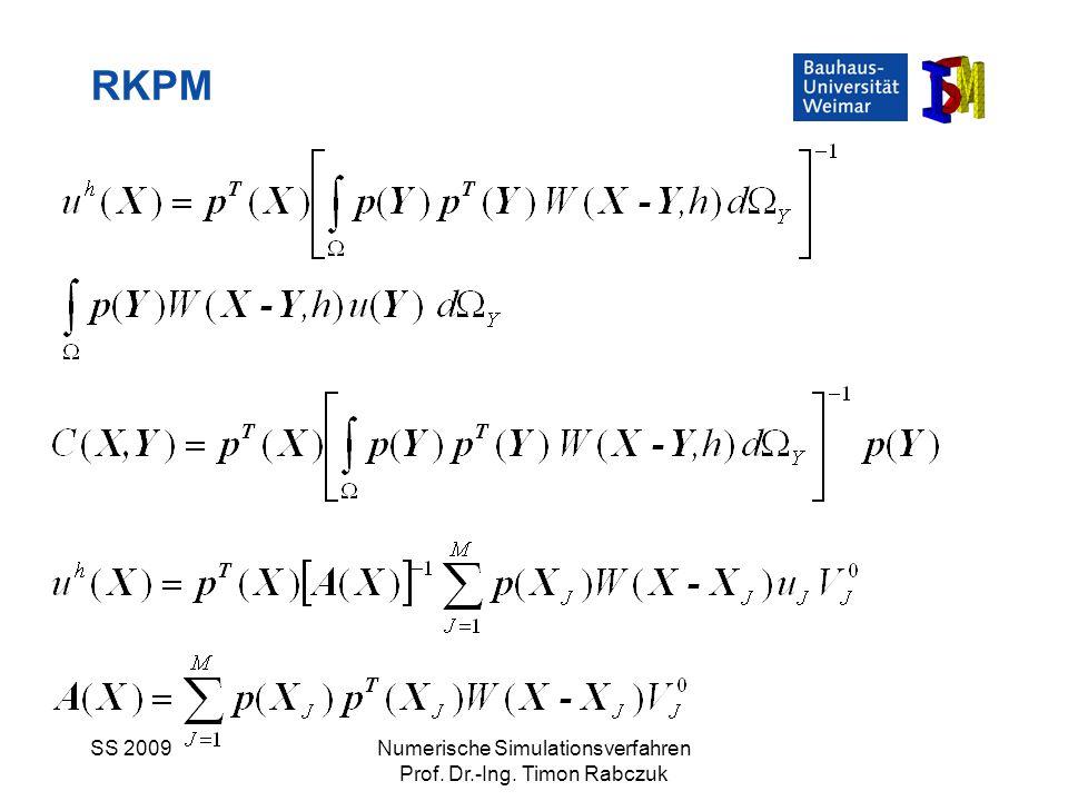 SS 2009Numerische Simulationsverfahren Prof. Dr.-Ing. Timon Rabczuk RKPM