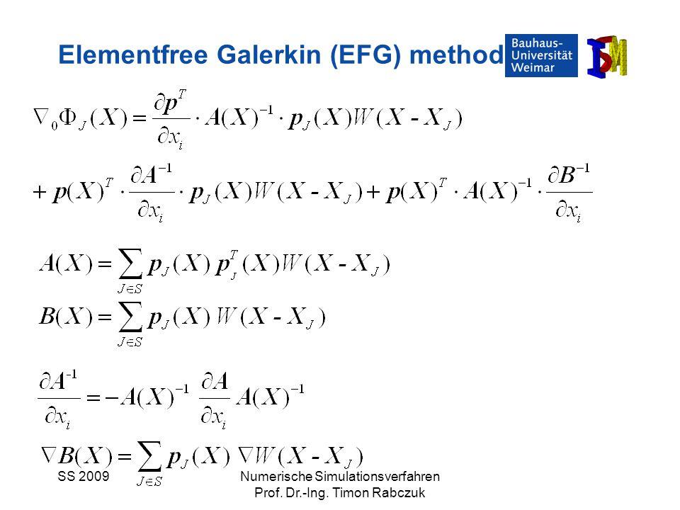 SS 2009Numerische Simulationsverfahren Prof. Dr.-Ing. Timon Rabczuk Elementfree Galerkin (EFG) method