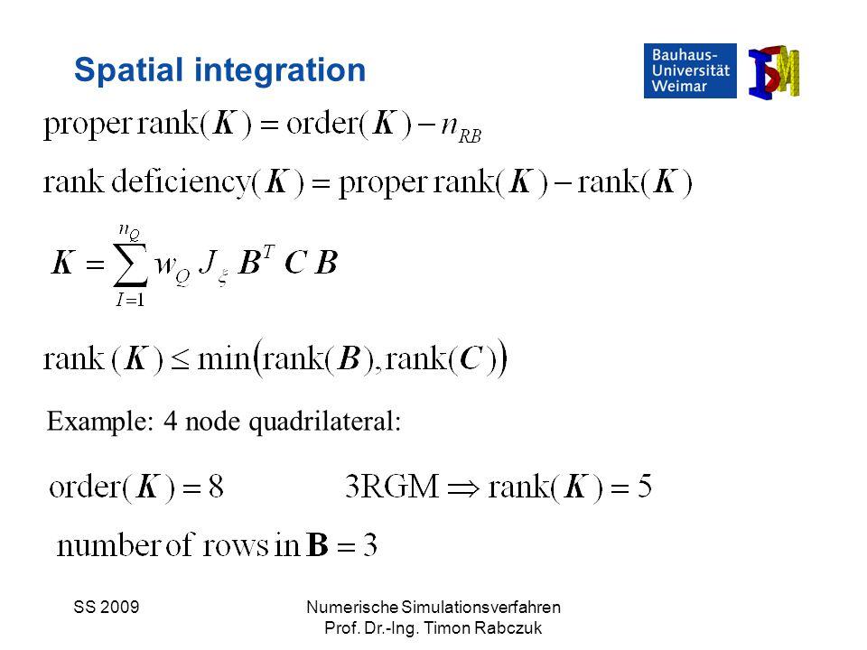 SS 2009Numerische Simulationsverfahren Prof. Dr.-Ing. Timon Rabczuk Spatial integration Example: 4 node quadrilateral: