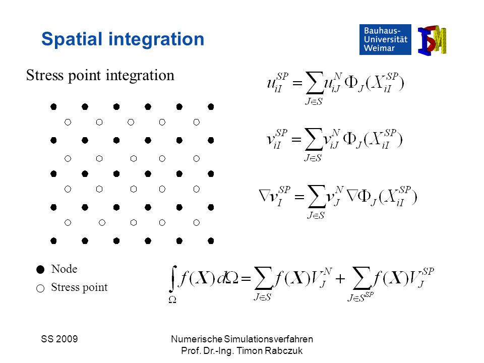SS 2009Numerische Simulationsverfahren Prof. Dr.-Ing. Timon Rabczuk Spatial integration Stress point integration Node Stress point