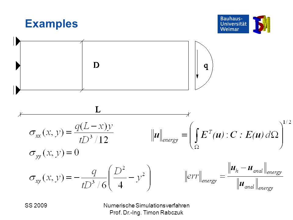 SS 2009Numerische Simulationsverfahren Prof. Dr.-Ing. Timon Rabczuk Examples