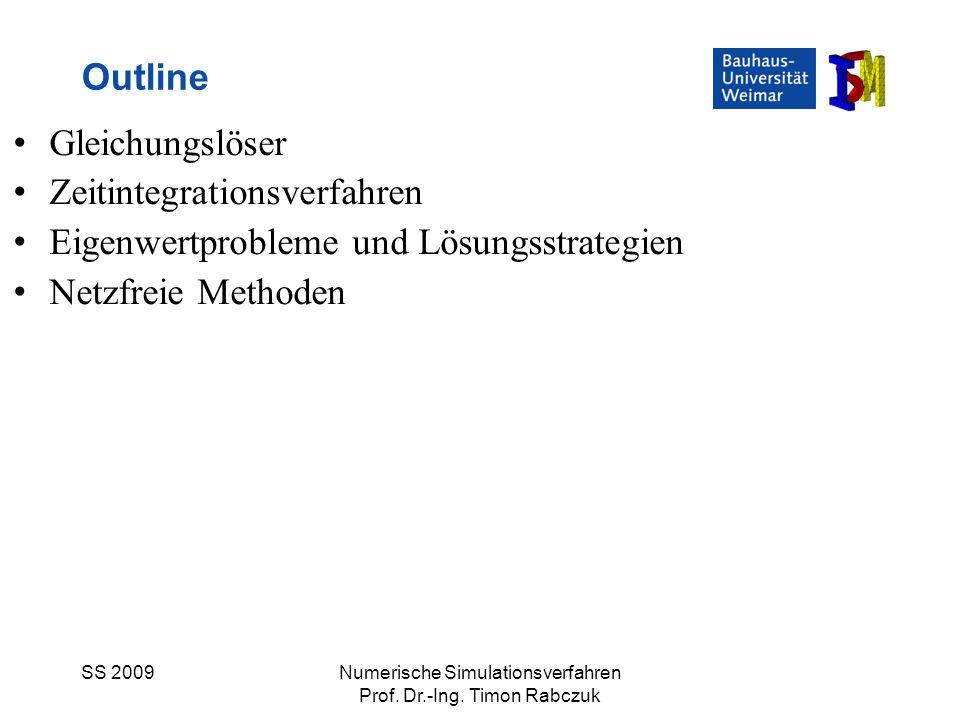 SS 2009Numerische Simulationsverfahren Prof. Dr.-Ing. Timon Rabczuk Gleichungslöser Zeitintegrationsverfahren Eigenwertprobleme und Lösungsstrategien