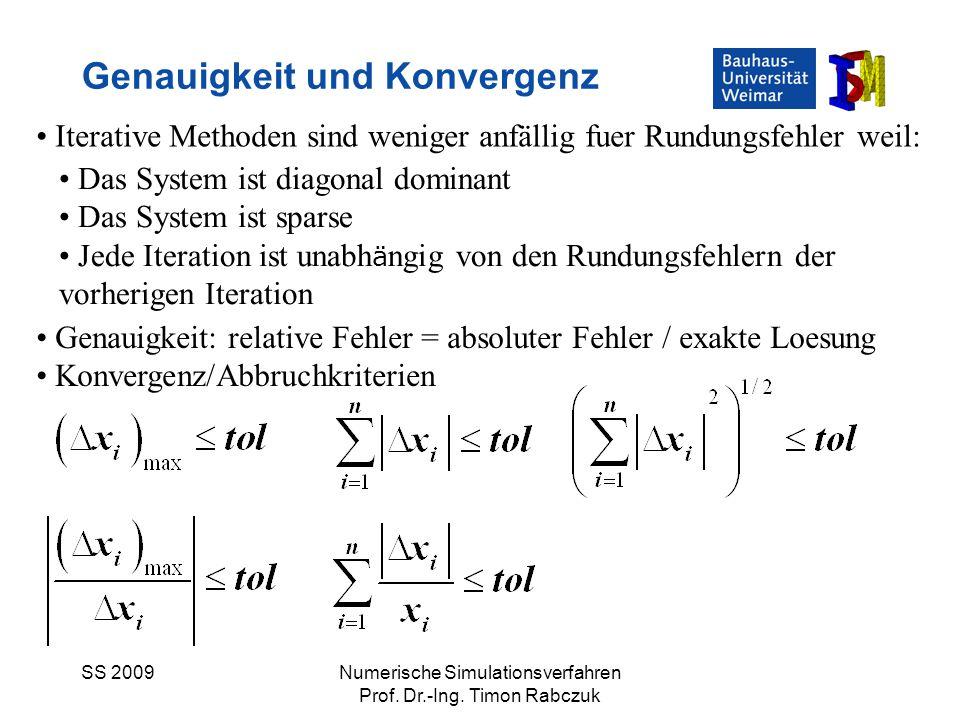 SS 2009Numerische Simulationsverfahren Prof. Dr.-Ing. Timon Rabczuk Genauigkeit und Konvergenz Iterative Methoden sind weniger anfällig fuer Rundungsf