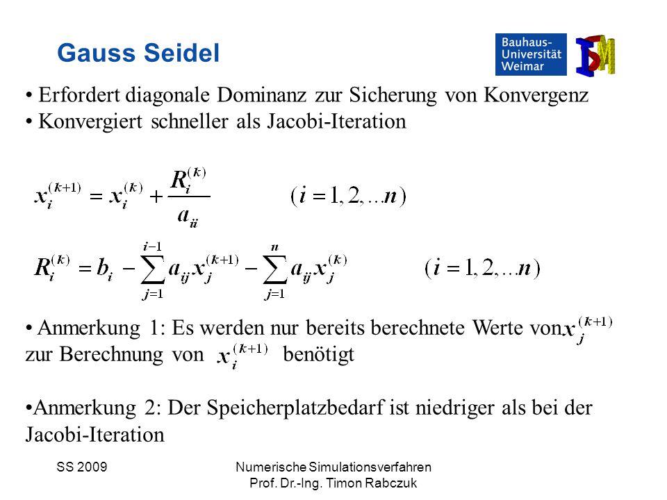 SS 2009Numerische Simulationsverfahren Prof. Dr.-Ing. Timon Rabczuk Gauss Seidel Erfordert diagonale Dominanz zur Sicherung von Konvergenz Konvergiert