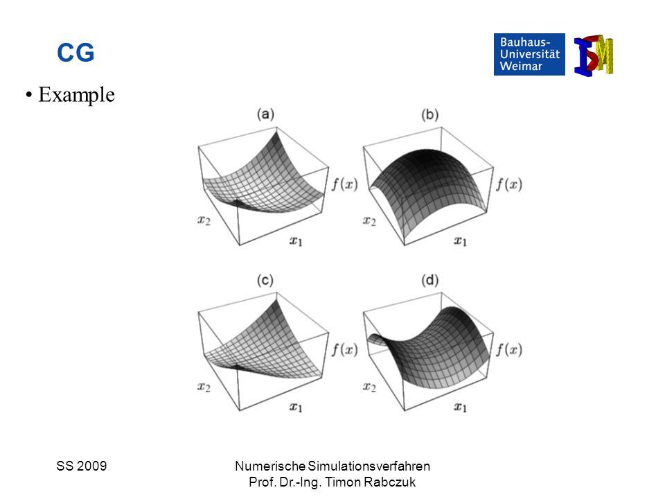 SS 2009Numerische Simulationsverfahren Prof. Dr.-Ing. Timon Rabczuk CG Example