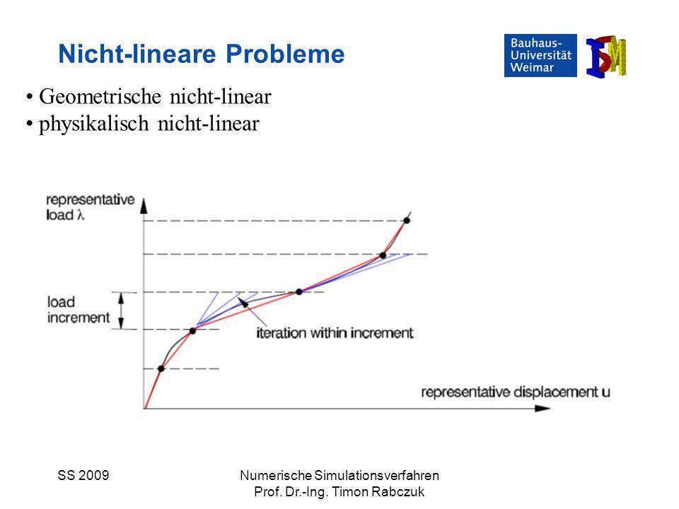 SS 2009Numerische Simulationsverfahren Prof. Dr.-Ing. Timon Rabczuk Nicht-lineare Probleme Geometrische nicht-linear physikalisch nicht-linear