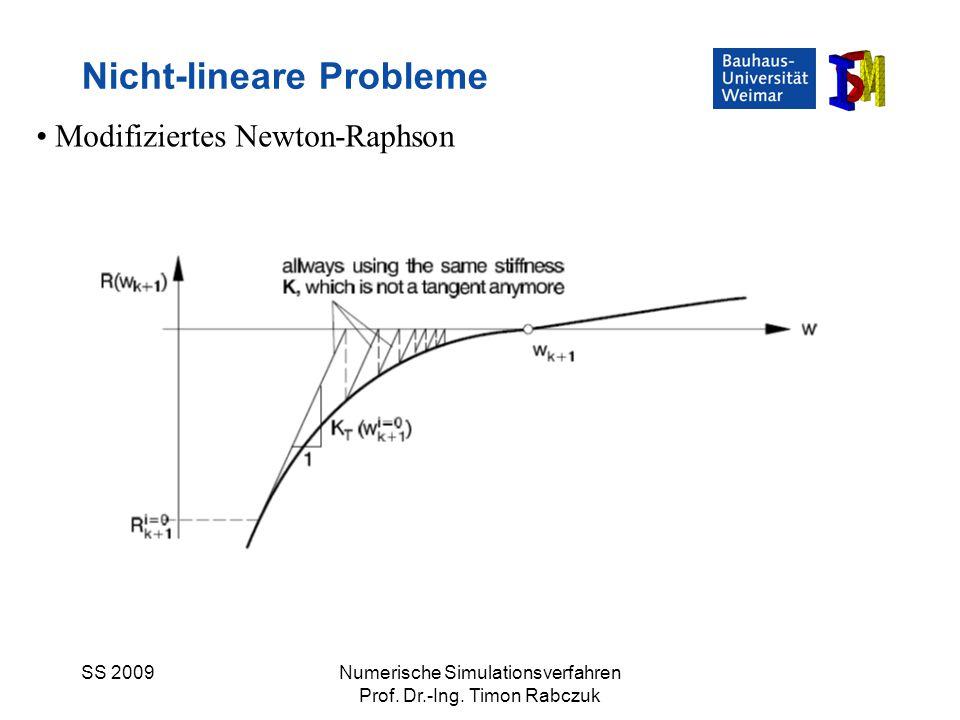 SS 2009Numerische Simulationsverfahren Prof. Dr.-Ing. Timon Rabczuk Nicht-lineare Probleme Modifiziertes Newton-Raphson