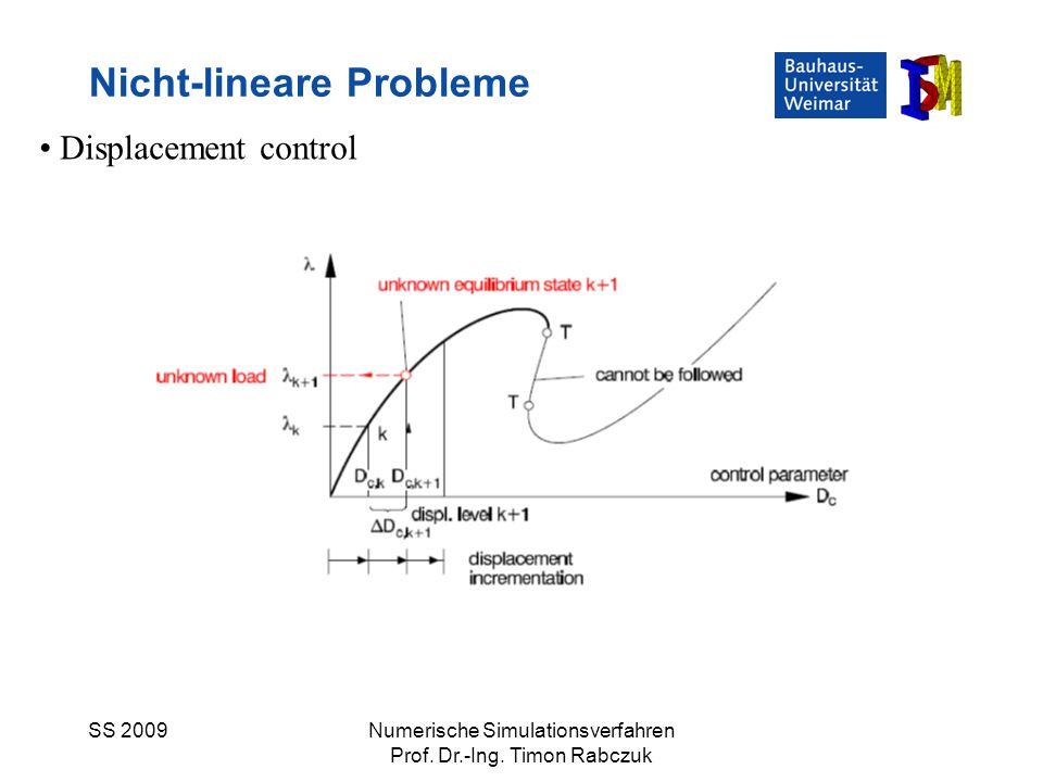 SS 2009Numerische Simulationsverfahren Prof. Dr.-Ing. Timon Rabczuk Nicht-lineare Probleme Displacement control