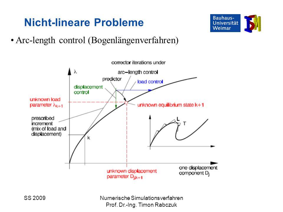SS 2009Numerische Simulationsverfahren Prof. Dr.-Ing. Timon Rabczuk Nicht-lineare Probleme Arc-length control (Bogenlängenverfahren)