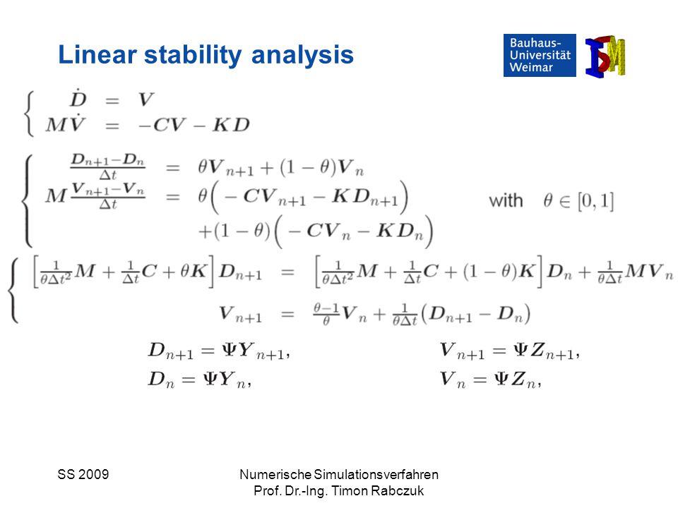 SS 2009Numerische Simulationsverfahren Prof. Dr.-Ing. Timon Rabczuk Linear stability analysis