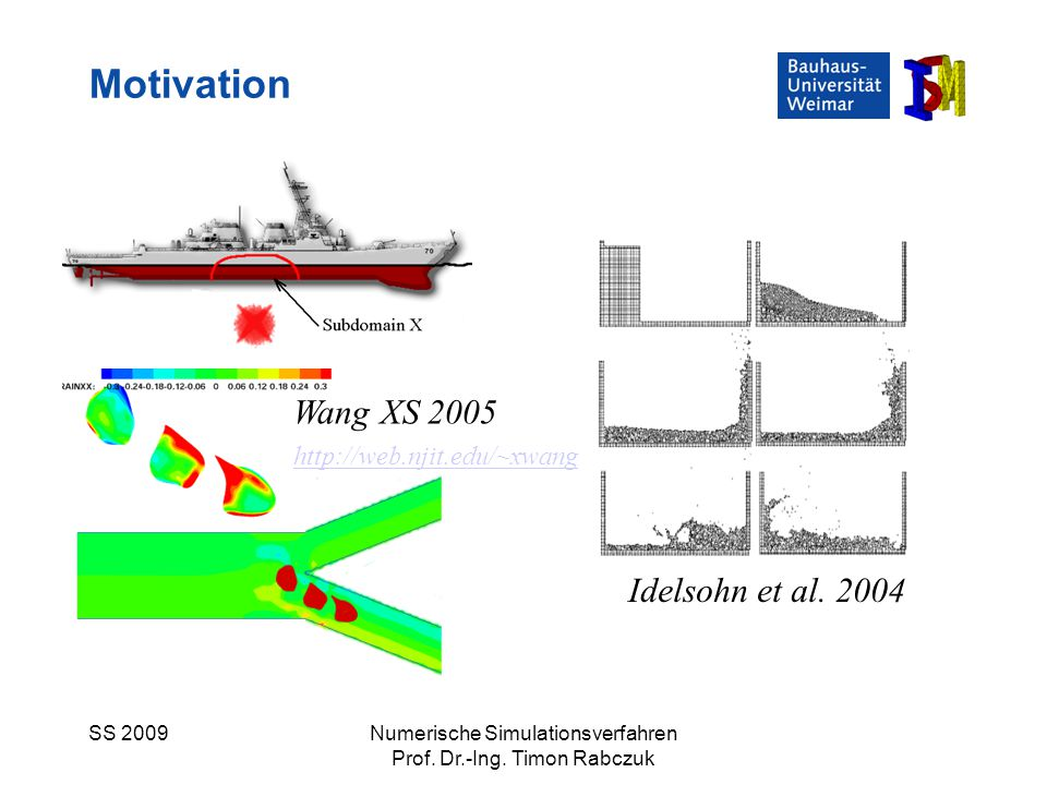 SS 2009Numerische Simulationsverfahren Prof. Dr.-Ing. Timon Rabczuk Motivation Idelsohn et al. 2004 Wang XS 2005 http://web.njit.edu/~xwang