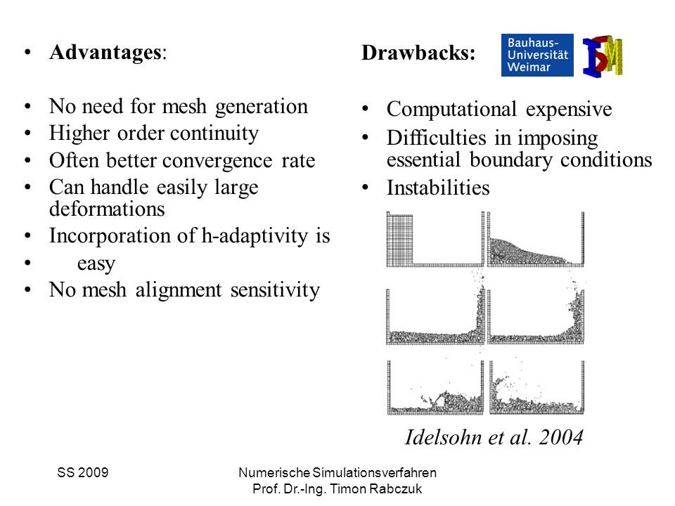 SS 2009Numerische Simulationsverfahren Prof. Dr.-Ing. Timon Rabczuk Advantages: No need for mesh generation Higher order continuity Often better conve