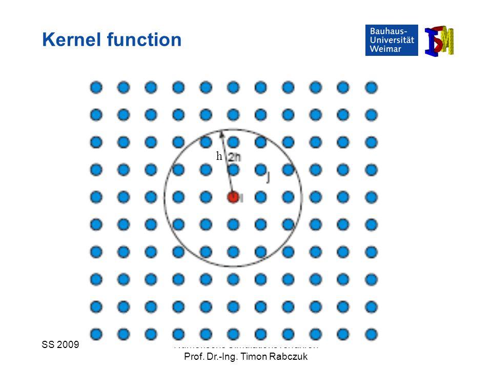 SS 2009Numerische Simulationsverfahren Prof. Dr.-Ing. Timon Rabczuk Kernel function h