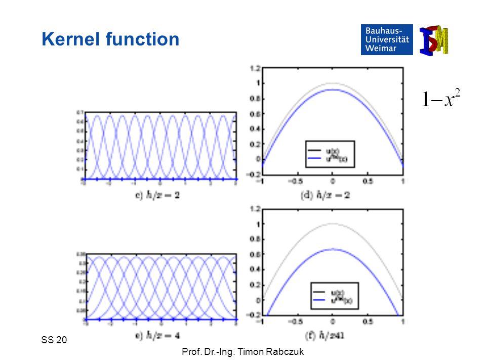 SS 2009Numerische Simulationsverfahren Prof. Dr.-Ing. Timon Rabczuk Kernel function