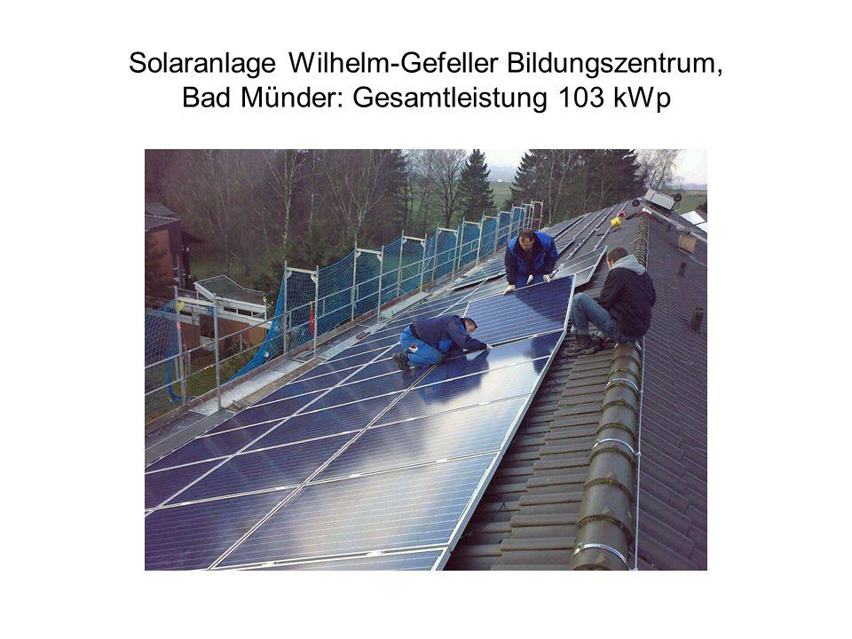 Solaranlage Wilhelm-Gefeller Bildungszentrum, Bad Münder: Gesamtleistung 103 kWp