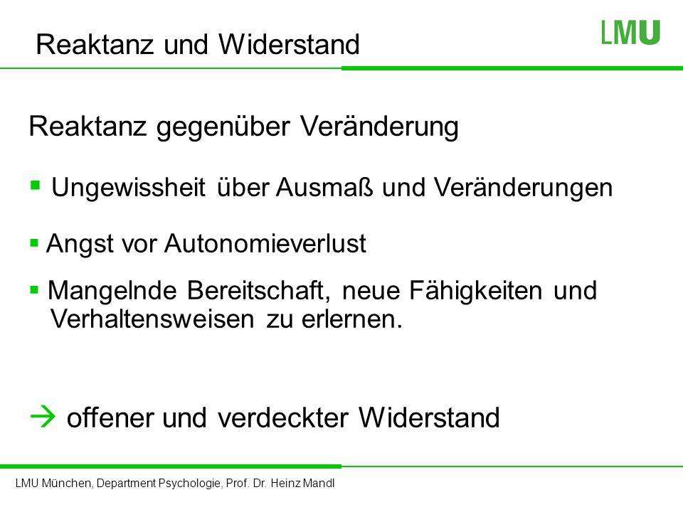 LMU München, Department Psychologie, Prof. Dr. Heinz Mandl Reaktanz gegenüber Veränderung  Ungewissheit über Ausmaß und Veränderungen  Angst vor Aut