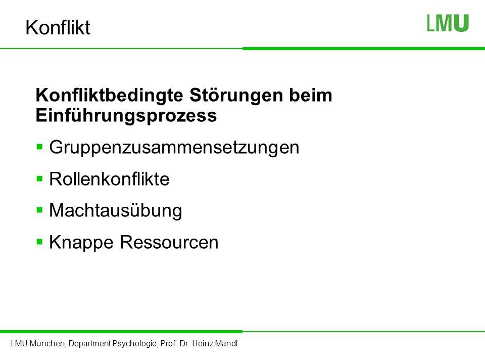 LMU München, Department Psychologie, Prof. Dr. Heinz Mandl Konflikt Konfliktbedingte Störungen beim Einführungsprozess  Gruppenzusammensetzungen  Ro
