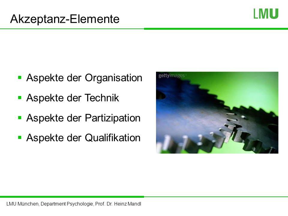 LMU München, Department Psychologie, Prof. Dr. Heinz Mandl Akzeptanz-Elemente  Aspekte der Organisation  Aspekte der Technik  Aspekte der Partizipa