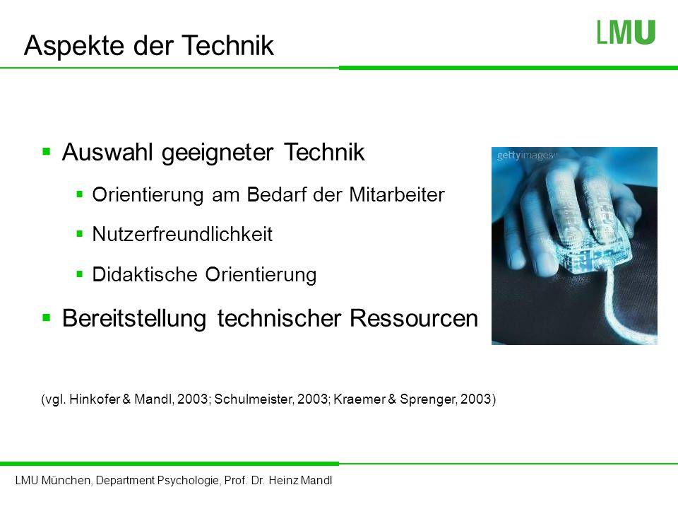 LMU München, Department Psychologie, Prof. Dr. Heinz Mandl Aspekte der Technik  Auswahl geeigneter Technik  Orientierung am Bedarf der Mitarbeiter 