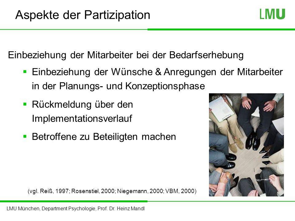 LMU München, Department Psychologie, Prof. Dr. Heinz Mandl Aspekte der Partizipation Einbeziehung der Mitarbeiter bei der Bedarfserhebung  Einbeziehu