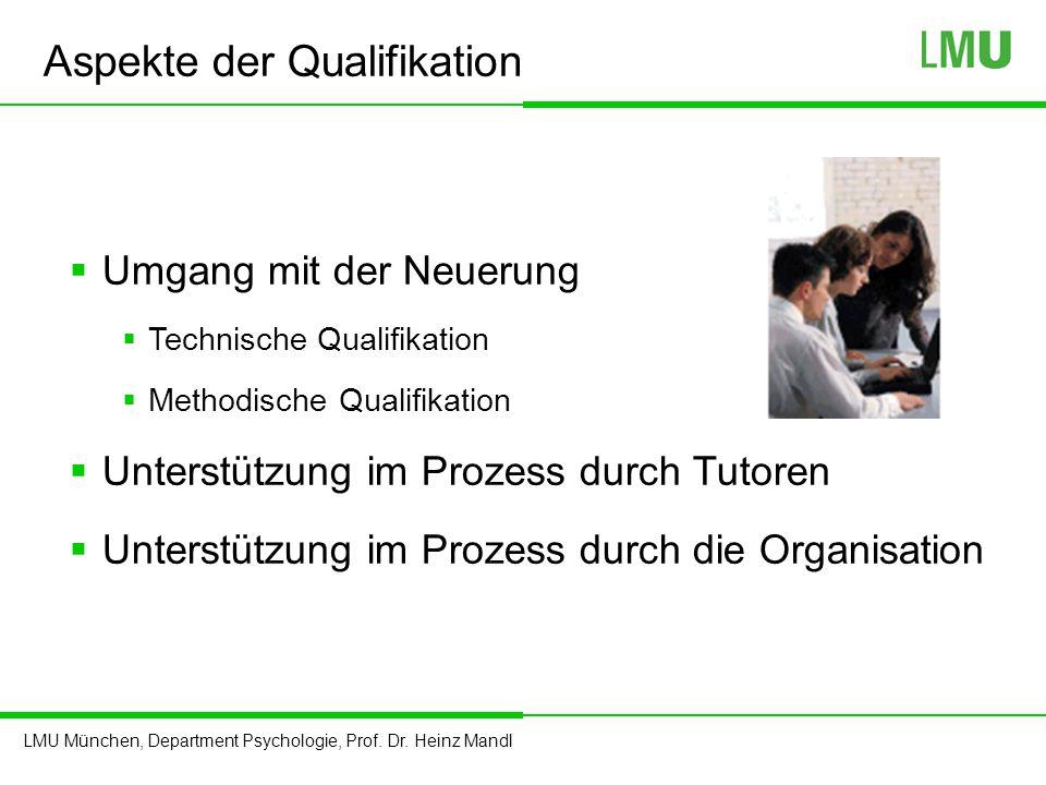 LMU München, Department Psychologie, Prof. Dr. Heinz Mandl Aspekte der Qualifikation  Umgang mit der Neuerung  Technische Qualifikation  Methodisch