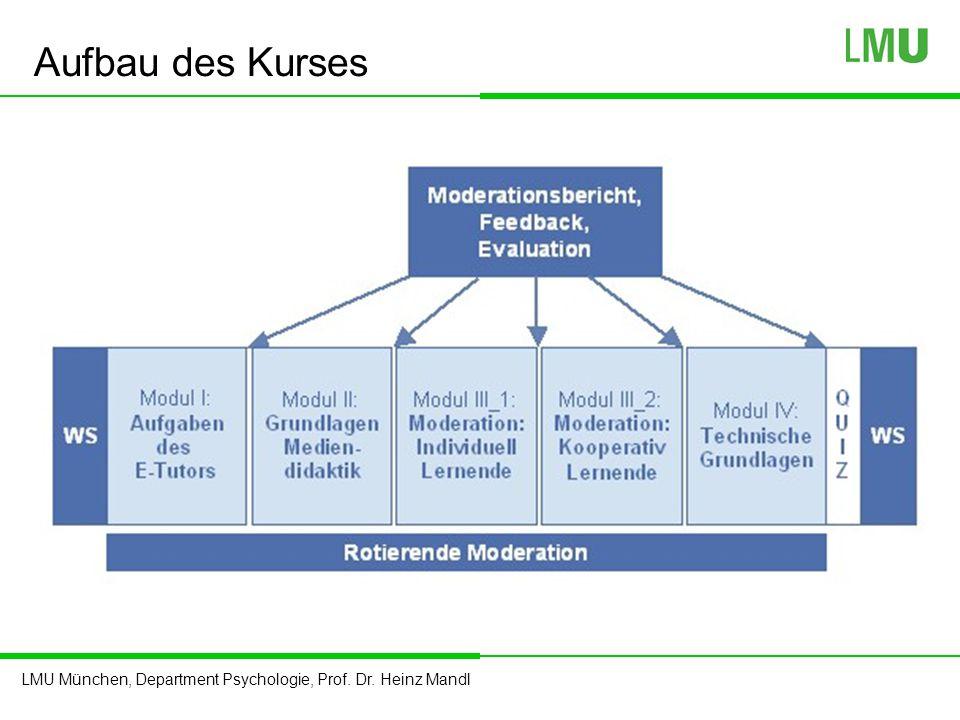 LMU München, Department Psychologie, Prof. Dr. Heinz Mandl Aufbau des Kurses