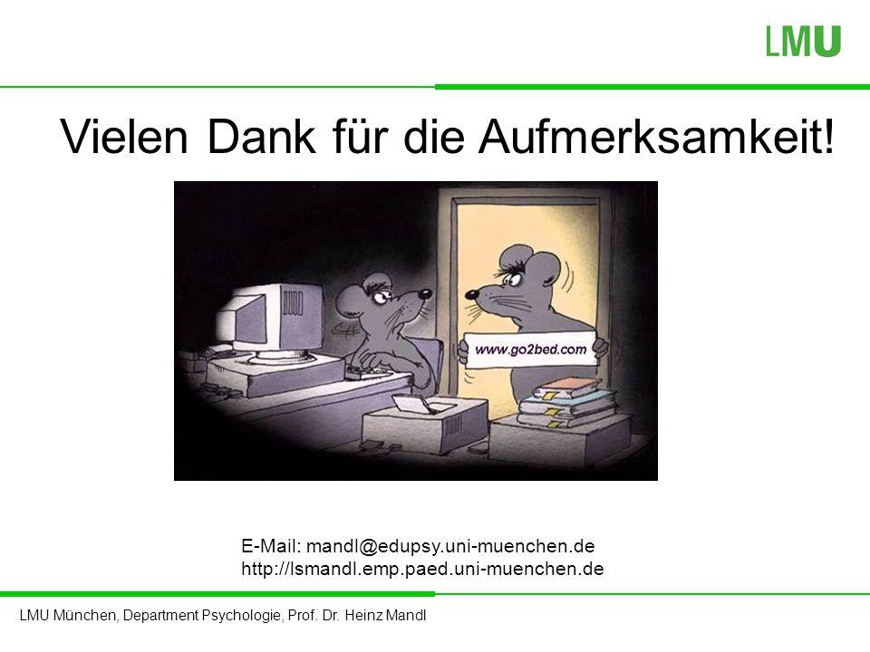 LMU München, Department Psychologie, Prof. Dr. Heinz Mandl Vielen Dank für die Aufmerksamkeit! E-Mail: mandl@edupsy.uni-muenchen.de http://lsmandl.emp