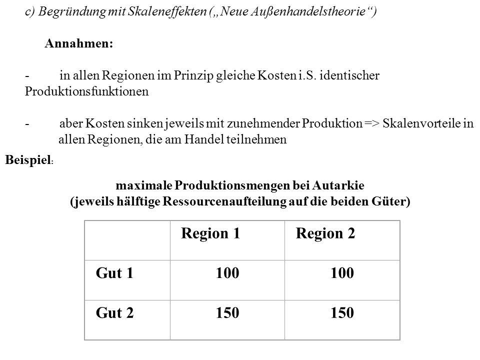 """c) Begründung mit Skaleneffekten (""""Neue Außenhandelstheorie"""") Annahmen: - in allen Regionen im Prinzip gleiche Kosten i.S. identischer Produktionsfunk"""