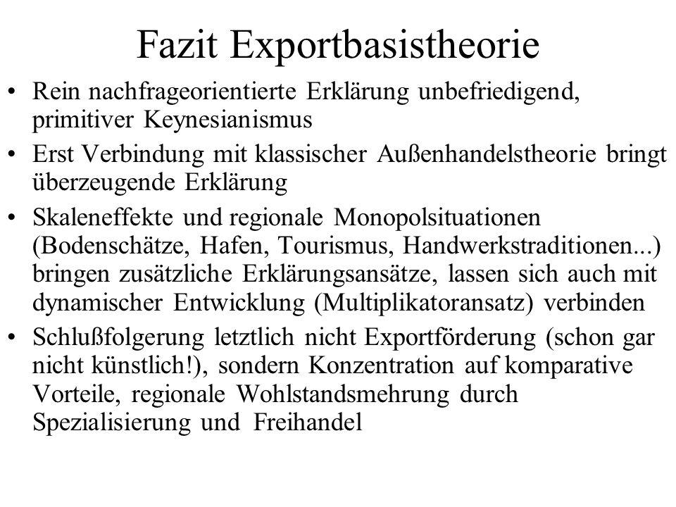 Fazit Exportbasistheorie Rein nachfrageorientierte Erklärung unbefriedigend, primitiver Keynesianismus Erst Verbindung mit klassischer Außenhandelsthe