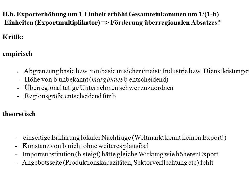 D.h. Exporterhöhung um 1 Einheit erhöht Gesamteinkommen um 1/(1-b) Einheiten (Exportmultiplikator) => Förderung überregionalen Absatzes? Kritik: empir