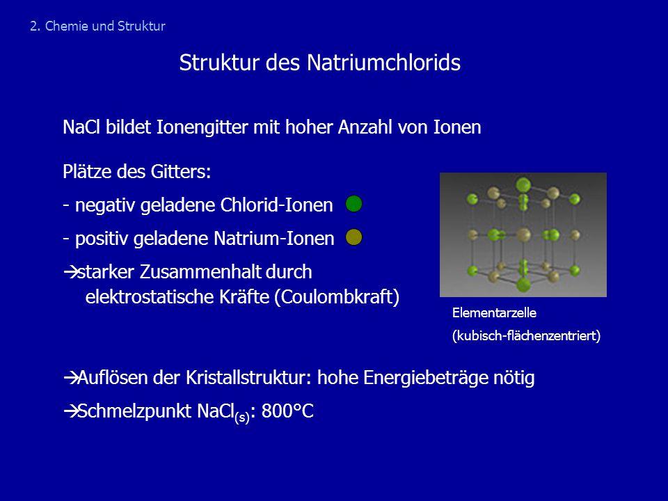 Struktur des Natriumchlorids 2. Chemie und Struktur NaCl bildet Ionengitter mit hoher Anzahl von Ionen Plätze des Gitters: - negativ geladene Chlorid-