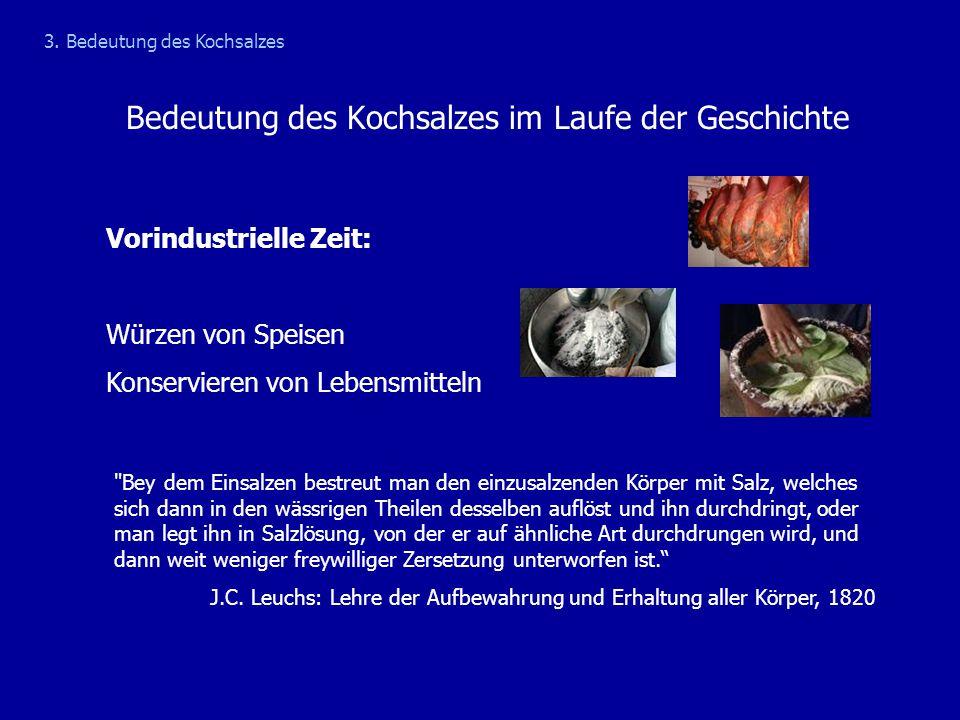 Bedeutung des Kochsalzes im Laufe der Geschichte Vorindustrielle Zeit: Würzen von Speisen Konservieren von Lebensmitteln 3. Bedeutung des Kochsalzes