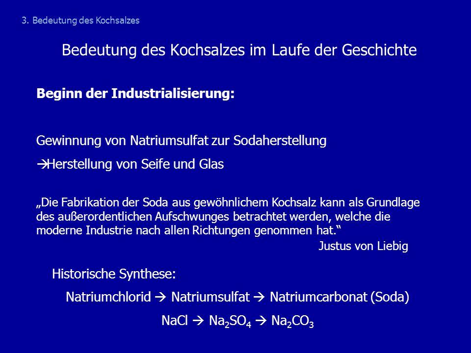 Bedeutung des Kochsalzes im Laufe der Geschichte Beginn der Industrialisierung: Gewinnung von Natriumsulfat zur Sodaherstellung  Herstellung von Seif